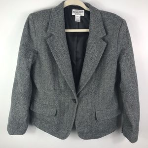 Pendleton grey 100% wool one button blazer